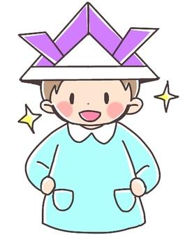 Helmet covered boy