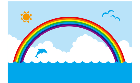 Summer sea image (rainbow, sky)