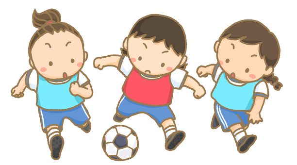Children playing soccer game