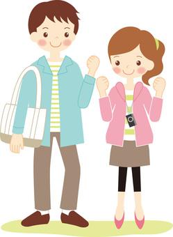 Cheering couple