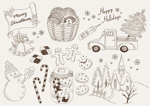 クリスマスのイラスト素材 線画版