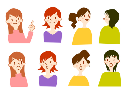 Young women illustration set