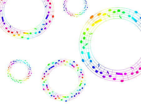 Rainbow color sparkling note