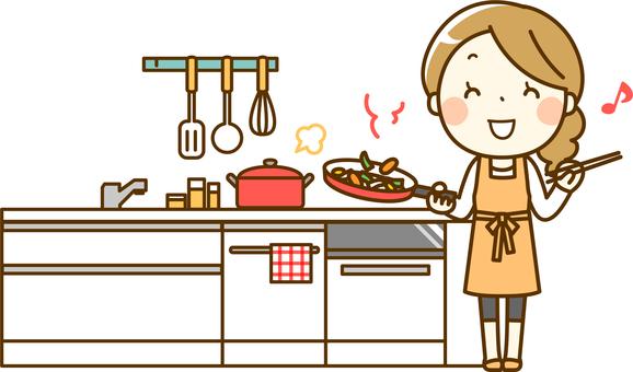 주방에서 요리를하는 주부