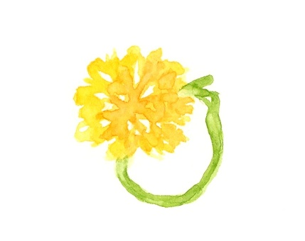 Hand drawn watercolor dandelion ring