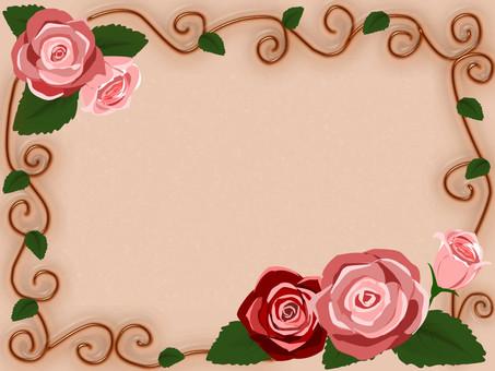 Romantic frame pink rose