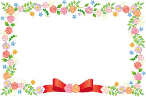 Ribbon and flower frame