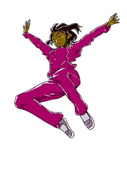 Jumping Woman (Magenta) Part 2