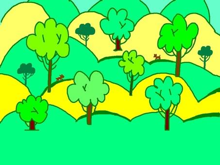 산과 나무와 개 배경 소재