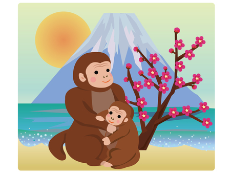 Monkey parent and child and Mt. Fuji