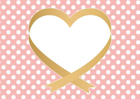 Ribbon Heart Frame (Gold / Dot Background)