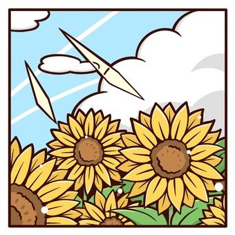 向日葵雲和向日葵田