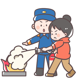 Fire fighting training woman