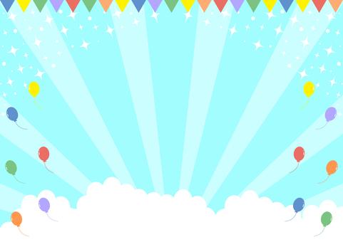 氣球國旗藍天閃光集中線