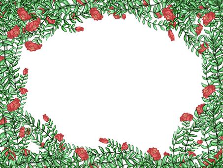Red flower frame