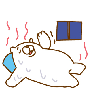 White bear that can not sleep in tropical night