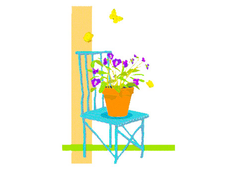 Chair, flowers and butterfly