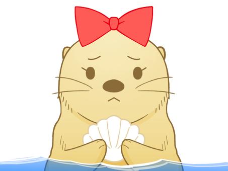 不機嫌なラッコちゃん(水中)