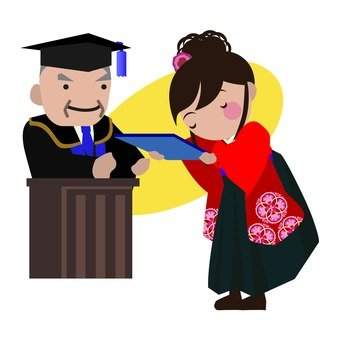 Receiving a diploma (college student)