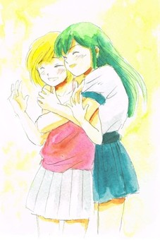 Watercolors girls hugging