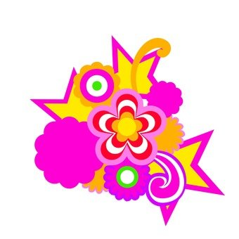 Flower and star · Pink yellow