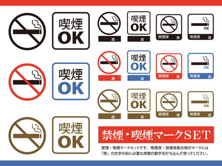 Tobacco / non smoking / smoking mark set