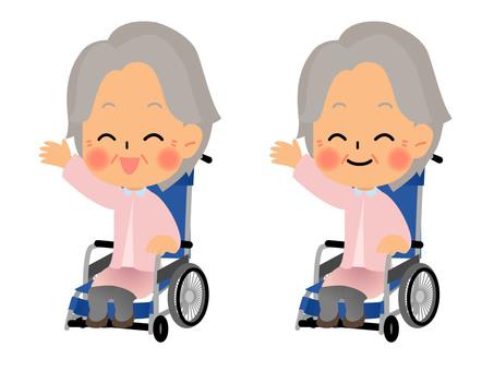 Elderly woman wheelchair set clean