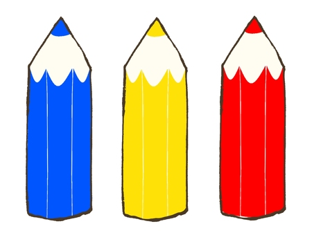 Illustration of colored pencils (red, blue, yellow)