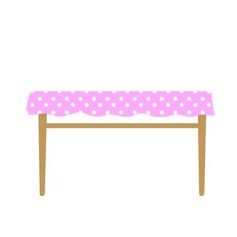 Pink tablecloth desk