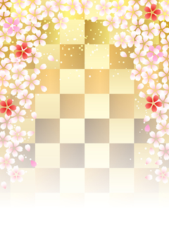 Cherry and checkered background