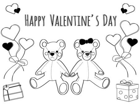 Valentine's Day bear couple hand-drawn style