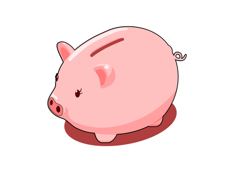 Pigs piggy bank (with border line · shadow)