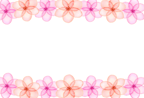 Hand-painted watercolor flower frame 1 pink