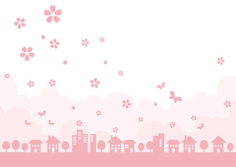 Cityscape frame _ spring cherry 02