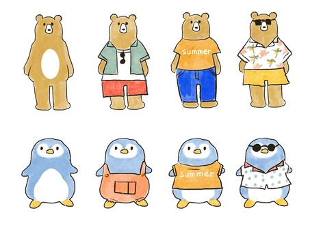 Fashionable bear and penguin