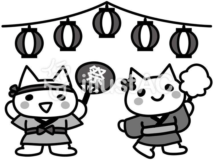 祭りと子どもの猫白黒イラスト No 1161722無料イラストなら