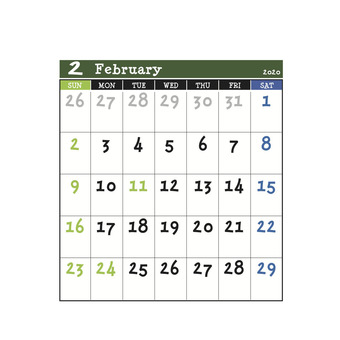 2020 Calendar Green February