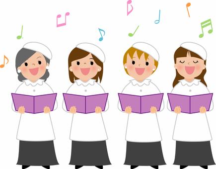 音楽イラスト 教会女声合唱