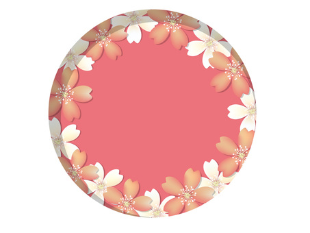 White and pink cherry blossom frame 03