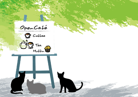 Open cafe illustration Fresh green and cat