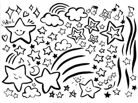 [Brush painting] Assorted illustrations of stars