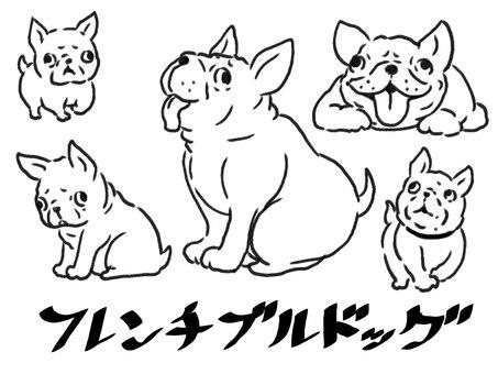 [Black and white] French bulldog [line art]