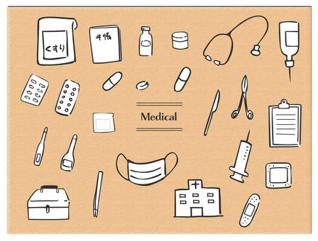 手拉的醫學醫療黑線白色背景