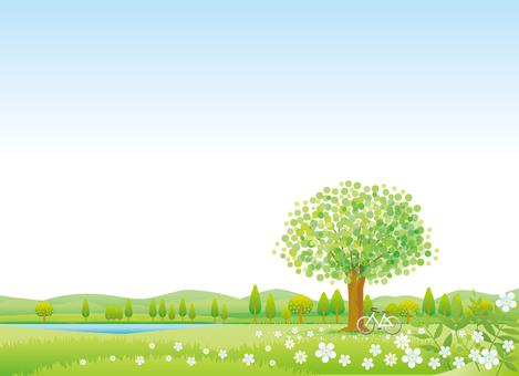 緑の季節の風景