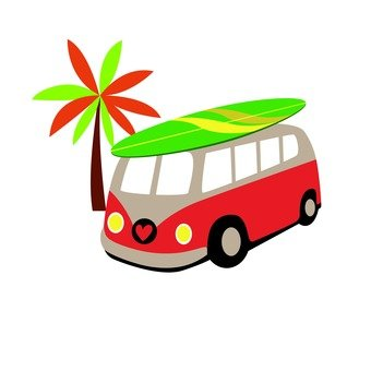Palm trees and minibuses