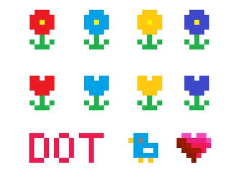도트 그림 꽃 일러스트 세트 튤립
