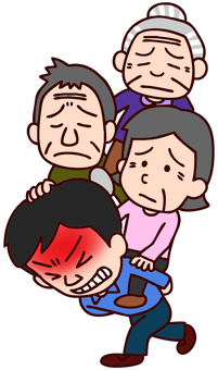 Illustration of young people supporting parent generation