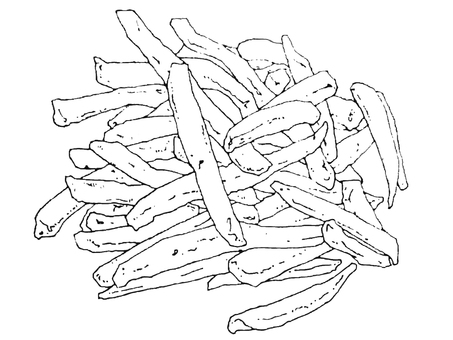 Line drawing French fries