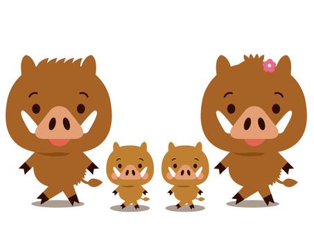 멧돼지 친자 4 마리