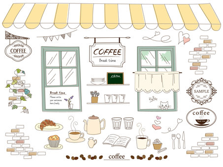 Hand drawn style, cafe